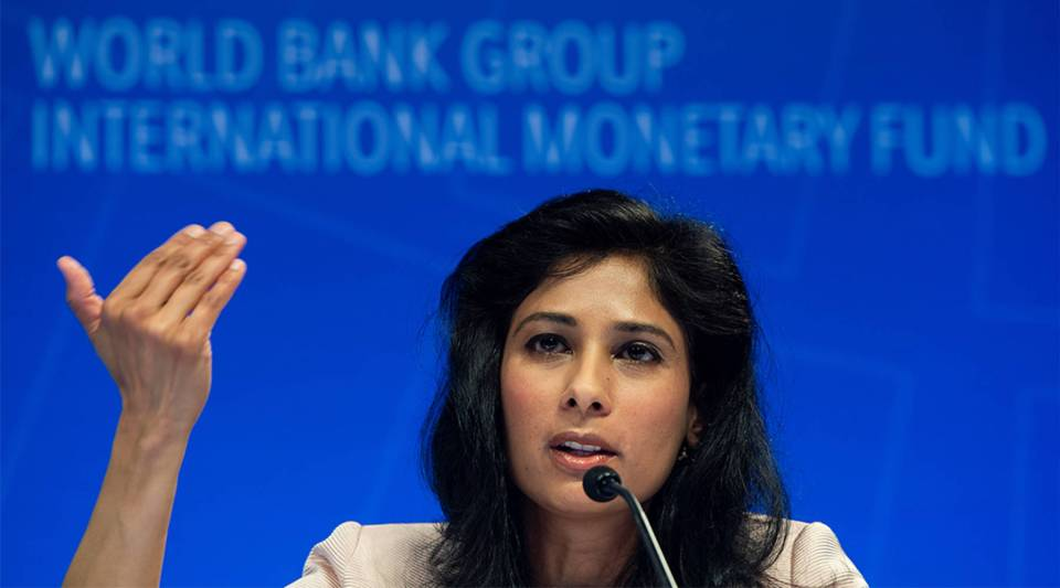 IMF Chief Economist Gita Gopinath speaks during a press conference in Washington, DC on April 9, 2019.