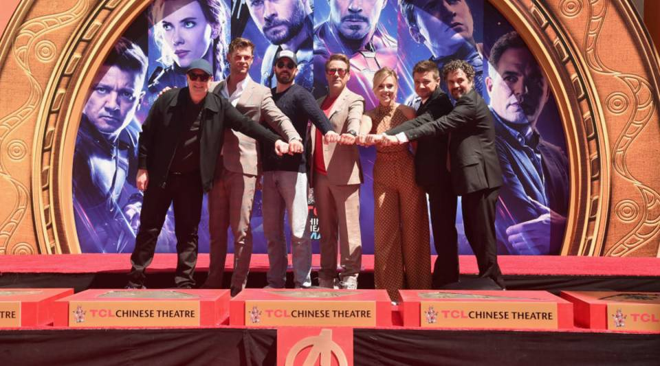 "From left, President of Marvel Studios/producer Kevin Feige with ""Avengers: Endgame"" stars Chris Hemsworth, Chris Evans, Robert Downey Jr., Scarlett Johansson, Jeremy Renner and Mark Ruffalo at TCL Chinese Theatre on April 23 in Los Angeles."