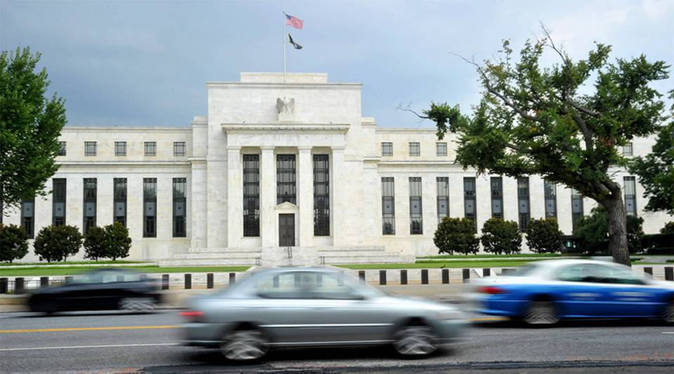 The US Federal Reserve building is seen on August 9, 2011 in Washington, DC.