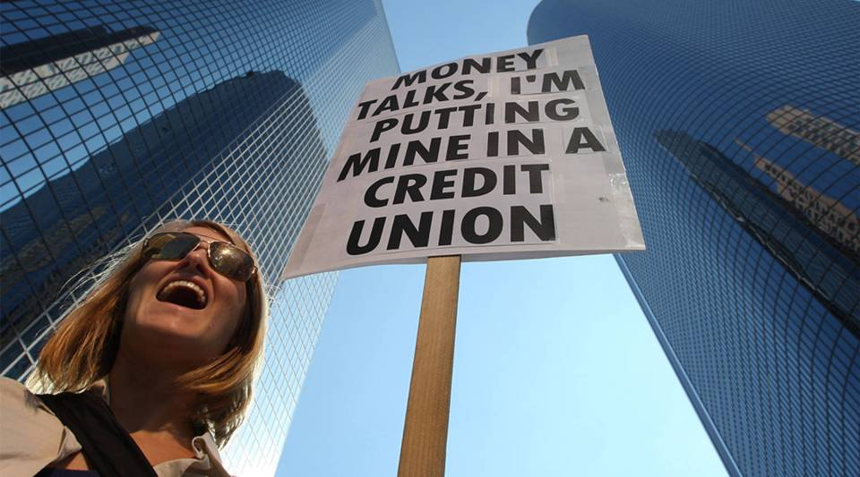 At the Move Your Money March in the downtown Los Angeles financial district in 2011, Occupy movement members called for people to move their money from banks to credit unions.