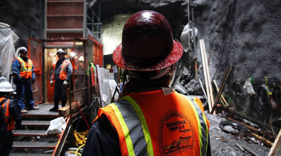 Construction workers at New York's Second Avenue subway project site in 2014. The 1.8-mile project cost an estimated $4.5 billion, an average cost of $2.5 per mile.