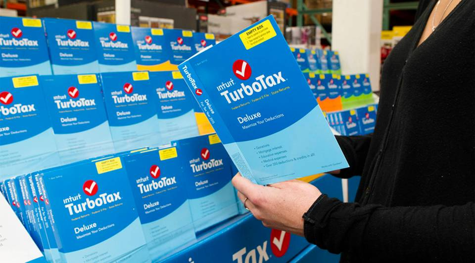 TurboTax products sit on display at Costco in 2016.