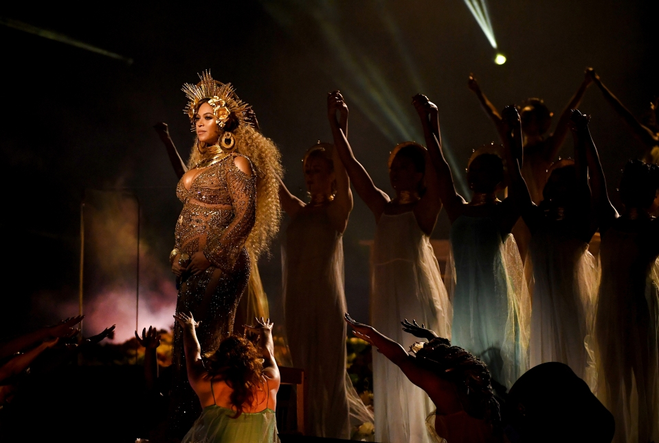 Beyonce performs onstage during The 59th GRAMMY Awards in February 2017