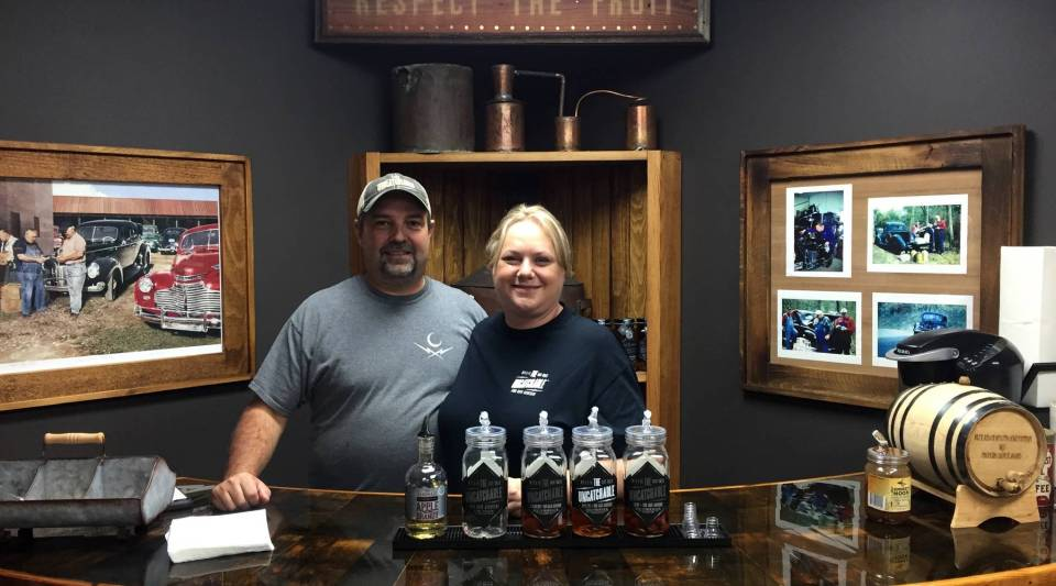 Brian and Laura Call make moonshine at the eponymous Call Family Distillers. They use family recipes and have turned the tasting room into a family museum. They say their stories pay homage to those who made moonshine to make ends meet.