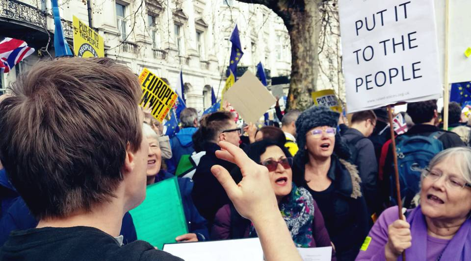 "The Raised Voices political choir taking part in the anti-Brexit ""People's Vote"" rally in central London on March 23, 2019."