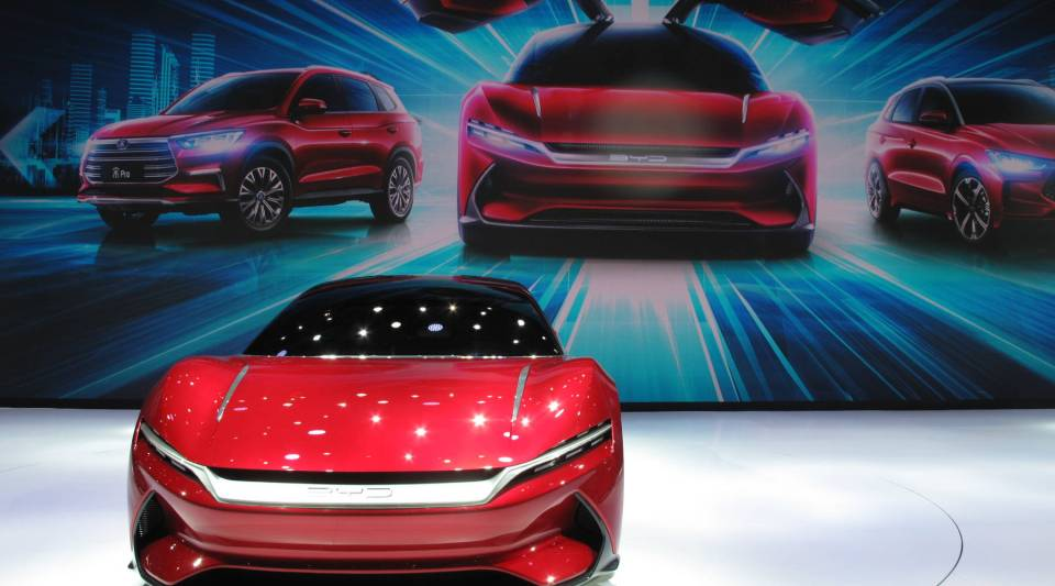 Chinese automaker BYD, a firm backed by Warren Buffet, unveiled an electric sports car at the Shanghai auto show. It's not available for sale yet but many live streamers and car bloggers were surprised that this sleek design came from a Chinese automaker.