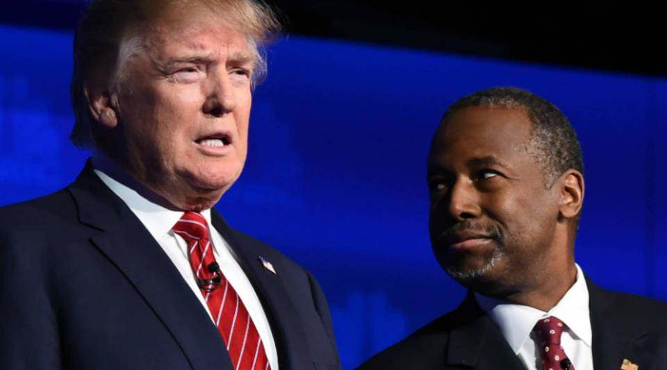 Presidential candidates Donald Trump and Ben Carson participate in the CNBC Republican presidential debate on Wednesday in Boulder, Colorado.