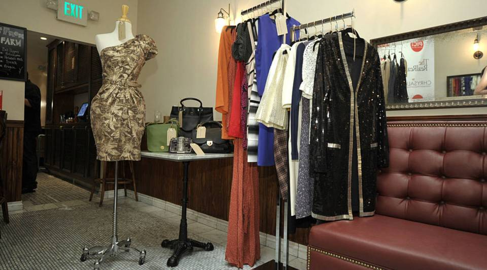 View of items for sale at The RealReal/Chrysalis Charity Benefit in Beverly Hills, California.