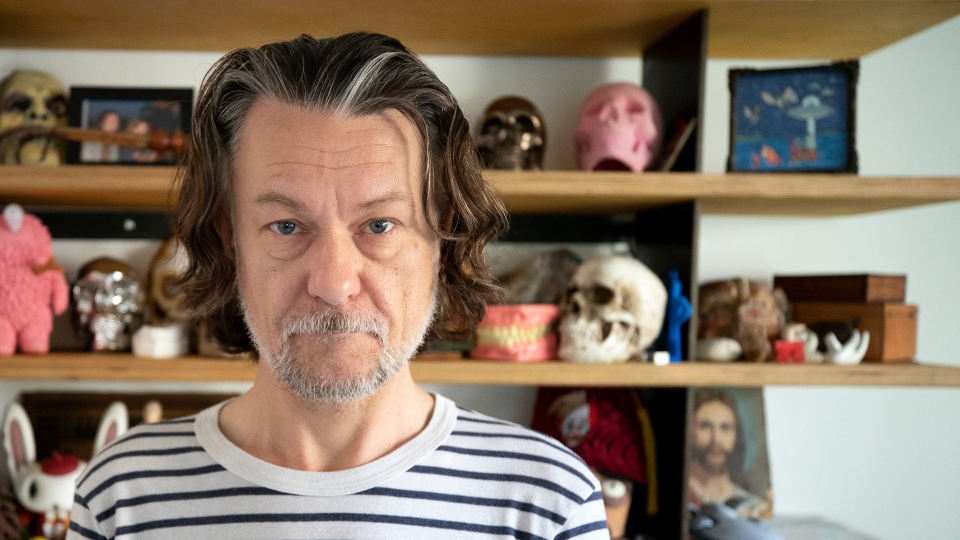 "Ben Edlund, creator of ""The Tick,"" at his home in Echo Park."