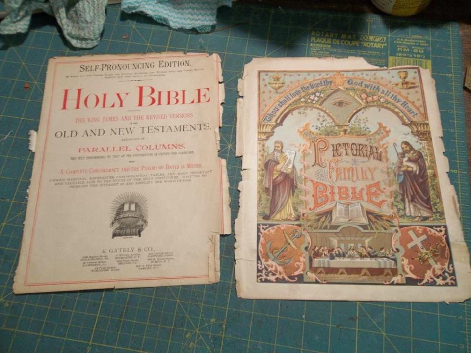 Bible pages in repair at Abrami Book Bindery