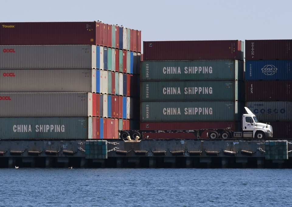Chinese shipping containers that were unloaded at the Port of Long Beach in Los Angeles County in 2018.