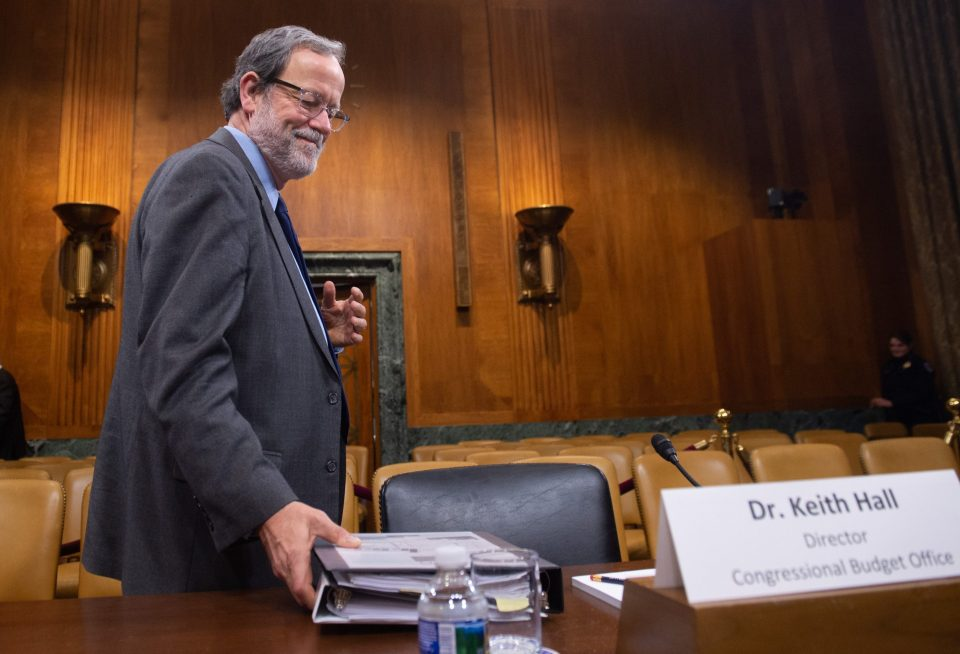 Keith Hall, Director of the Congressional Budget Office (CBO), arrives to testify about CBO's Budget and Economic Outlook for Fiscal Year 2019-2029, during a Senate Budget Committee hearing on Capitol Hill in Washington, DC, January 29, 2019.