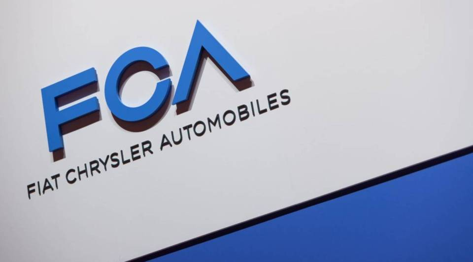 A FCA (Fiat Chrysler Automobiles) logo is displayed on March 6, 2019 during a press day ahead of the Geneva International Motor Show in Geneva.
