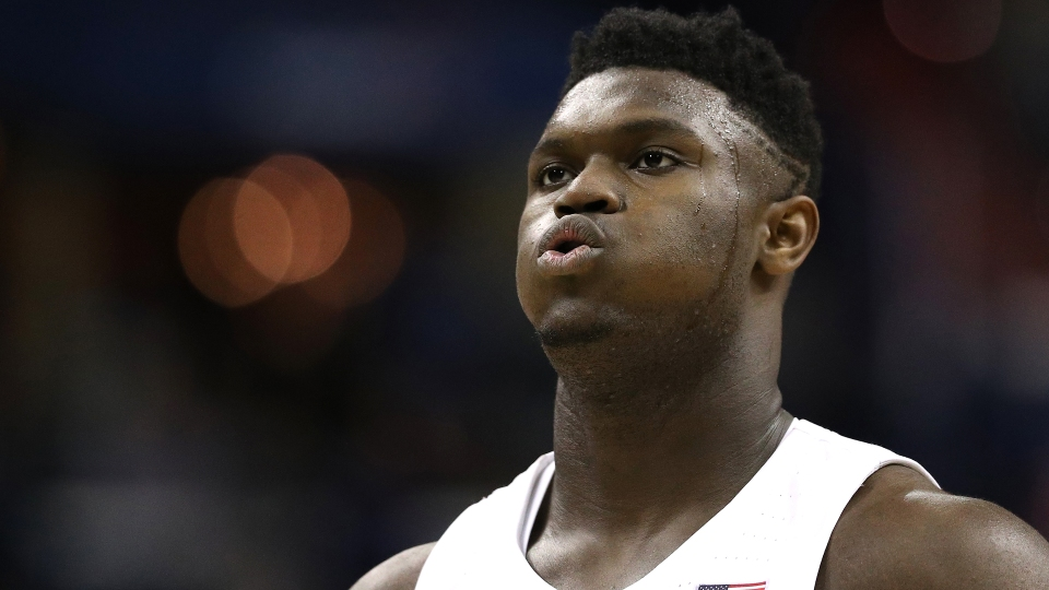 Zion Williamson #1 of the Duke Blue Devils looks on against the Michigan State Spartans in the East Regional game of the 2019 NCAA Men's Basketball Tournament at Capital One Arena on March 31, 2019 in Washington, DC.