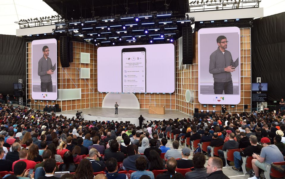 Google CEO Sundar Pichai speaks during the Google I/O 2019 keynote session at Shoreline Amphitheatre in Mountain View, California on May 7, 2019.