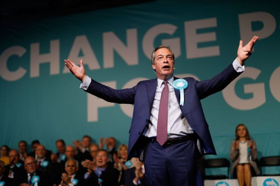 Brexit Party leader Nigel Farage addresses a European Parliament election campaign rally at Olympia London, west London, on May 21.