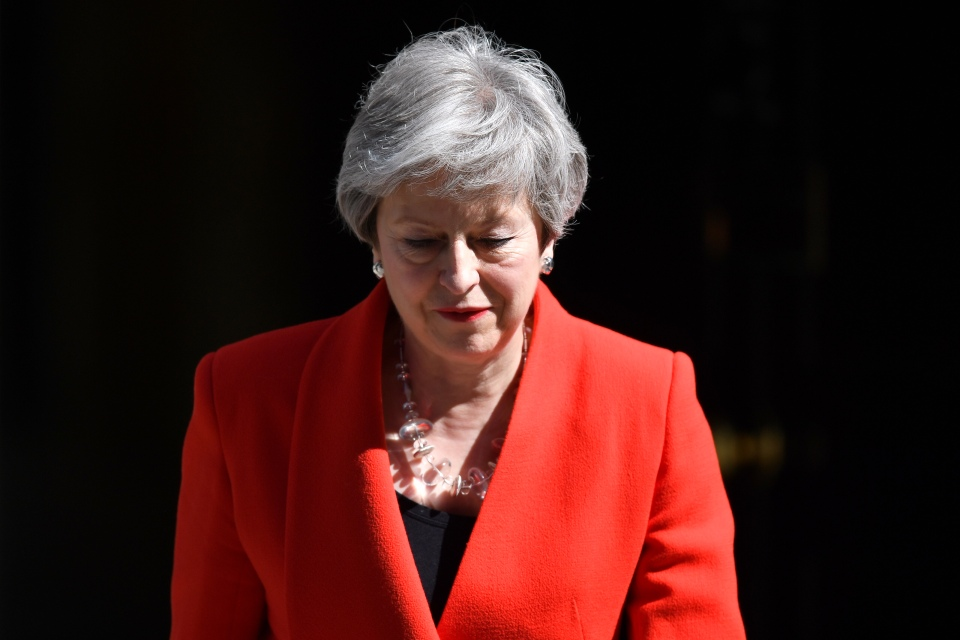 Prime Minister Theresa May outside 10 Downing Street on May 24, 2019 in London, England. The prime minister has announced that she will step down on June 7.