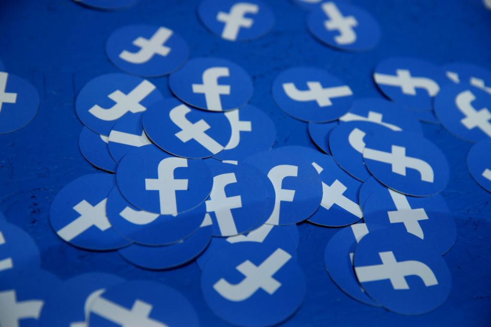Paper circles with the Facebook logo are displayed during the F8 Facebook Developers conference on April 30, 2019 in San Jose, California. Facebook CEO Mark Zuckerberg delivered the opening keynote to the FB Developer conference that runs through May 1.