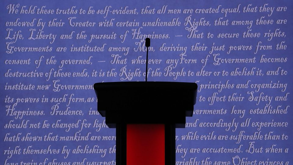 A candidate's podium during the 2016 presidential debates.