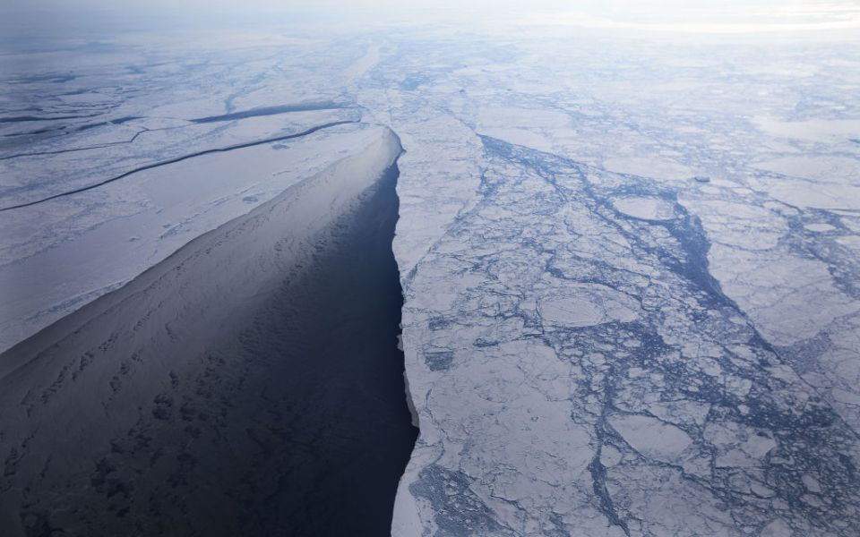 Sea ice is seen from NASA's Operation IceBridge research aircraft off the northwest coast on March 30, 2017 above Greenland. NASA's Operation IceBridge has been studying how polar ice has evolved over the past nine years and is currently flying a set of eight-hour research flights over ice sheets and the Arctic Ocean to monitor Arctic ice loss aboard a retrofitted 1966 Lockheed P-3 aircraft. According to NASA scientists and the National Snow and Ice Data Center (NSIDC), sea ice in the Arctic appears to have reached its lowest maximum wintertime extent ever recorded on March 7. Scientists have said the Arctic has been one of the regions hardest hit by climate change.