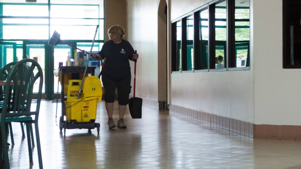 A janitor does some cleaning at the Columbia Mall on July 24, 2017 in Bloomsburg, Pennsylvania.