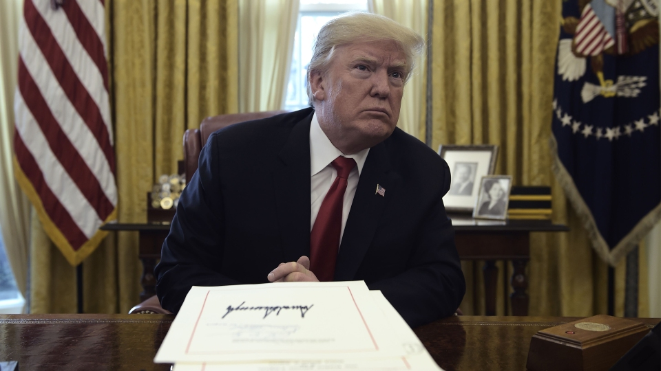 President Donald Trump at a signing event for the Tax Cut and Reform Bill in the Oval Office at the White House in Washington, D.C., on Dec. 22, 2017.