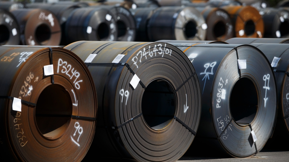 Steel coils lay in a yard at ArcelorMittal Dofasco steel plant on June 4, 2018 in Hamilton, Canada..