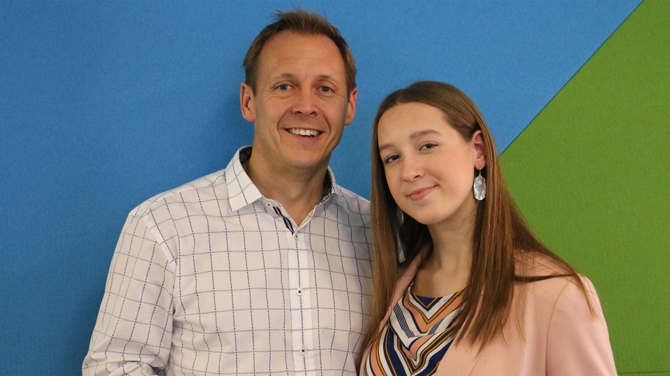 Alina Morse, founder and CEO of Zollipops, with her father, Tom Morse.