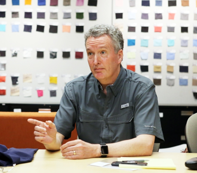 Peter Bragdon, Columbia Sportswear Executive Vice President, Chief Administrative Officer and General Counsel at Columbia Sportswear headquarters just outside Portland, Oregon.