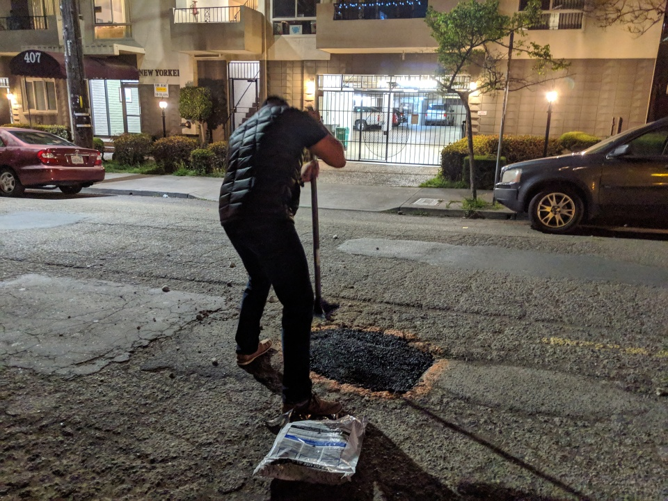 In Oakland, California, two men calling themselves the Pothole Vigilantes have begun collecting donations and filling potholes at night.