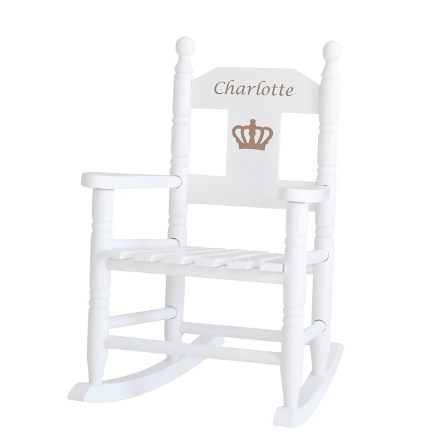 A white, personalized royal rocking chair for Princess Charlotte by My 1st Years.