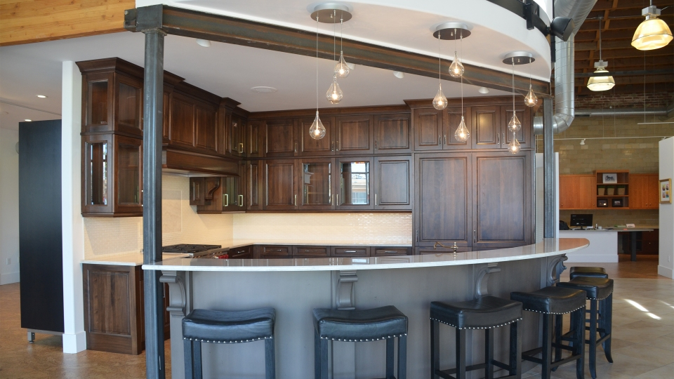 A display at Thurston Kitchen and Bath in Denver, Colo. features sprawling quartzite countertops.