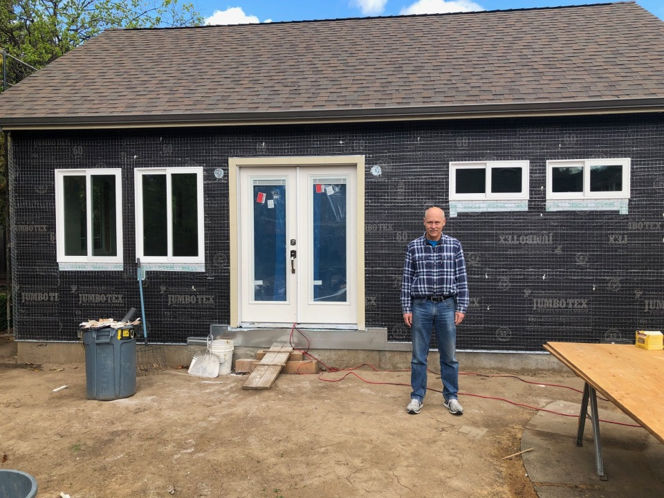 Paul Boehm stands outside the tiny home he's building in his Silicon Valley backyard. More and more seniors are turning to in-law units as a viable downsizing option as they age.