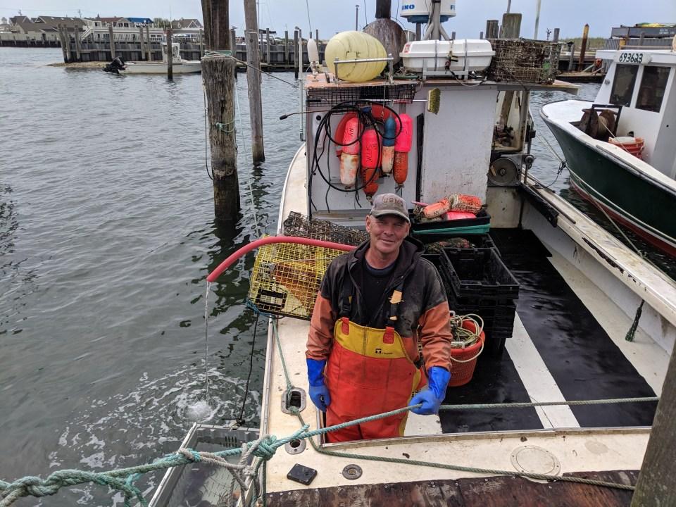 Montauk fisherman Al Schaffer on his lobster boat.