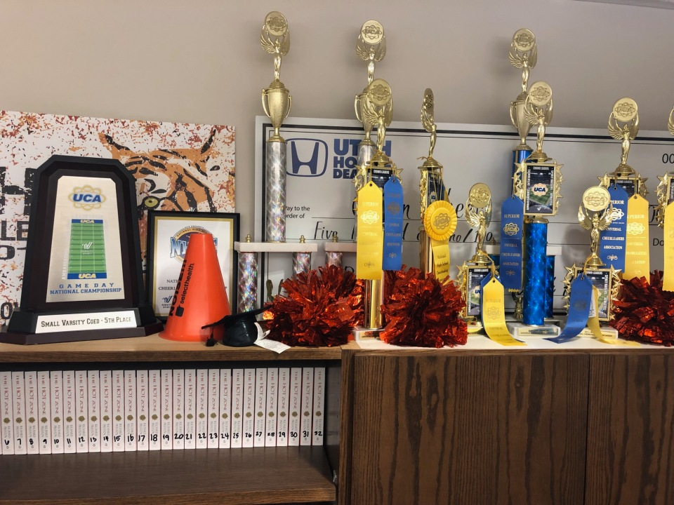 Trophies won by the Ogden High School cheer team