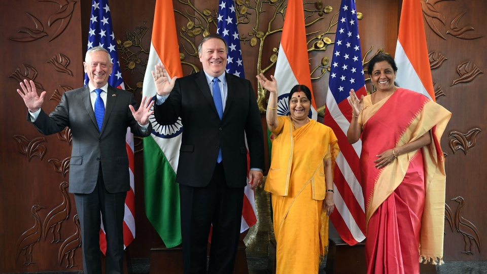 From left, then-U.S. Secretary of Defense Jim Mattis and U.S. Secretary of State Mike Pompeo pose with Indian Foreign Minister Sushma Swaraj and Indian Defense Minister Nirmala Sitharaman in New Delhi in 2018. Pompeo visits India next week.