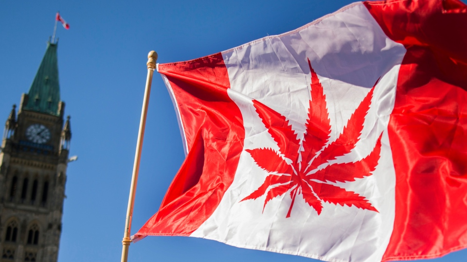A Canadian flag with a weed leaf on it is waved at a celebration of National Marijuana Day on Parliament Hill in Ottawa, Canada.