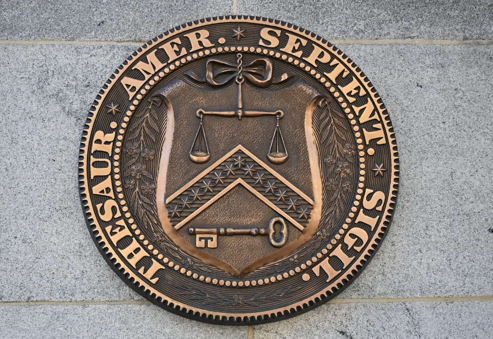 An October 18, 2018 photo shows the seal of the US Treasury in Washington, DC.