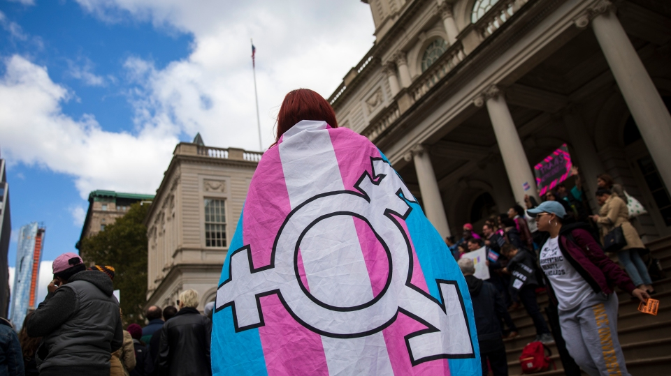 LGBT activists rally in support of transgender people on the steps of New York City Hall last year.