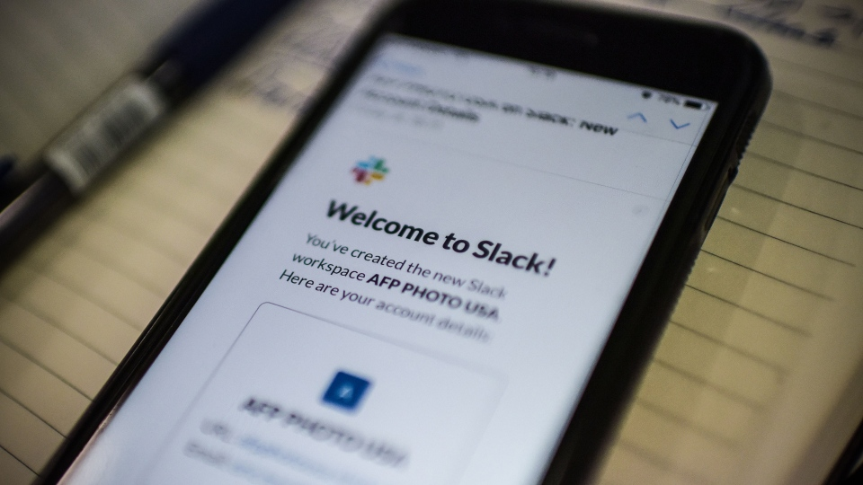 A welcome email from the popular workplace messaging system Slack on a smartphone screen.