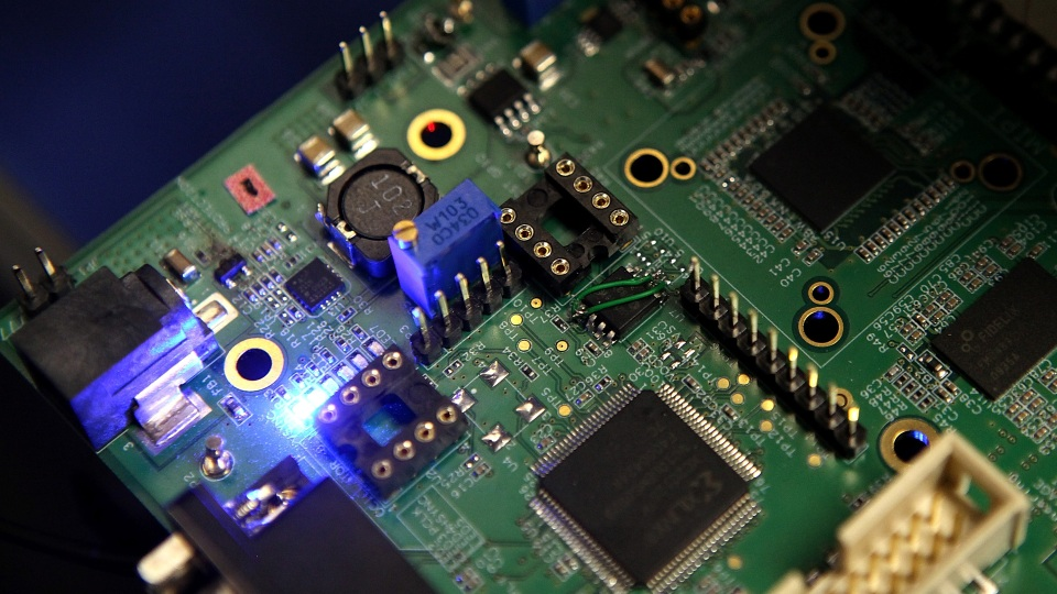 Semiconductors are pictured on a circuit board used in a Samsung video camera in San Jose, California.