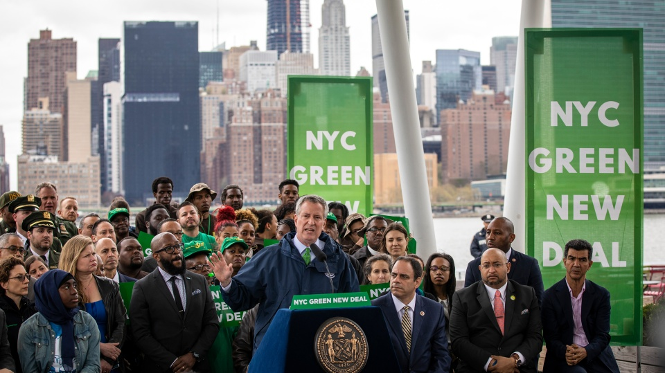 New York City Mayor Bill de Blasio speaks about the city's strategy to fight climate change in April. The State Assembly approved a sweeping climate change bill, which now moves to Governor Andrew Cuomo's desk.