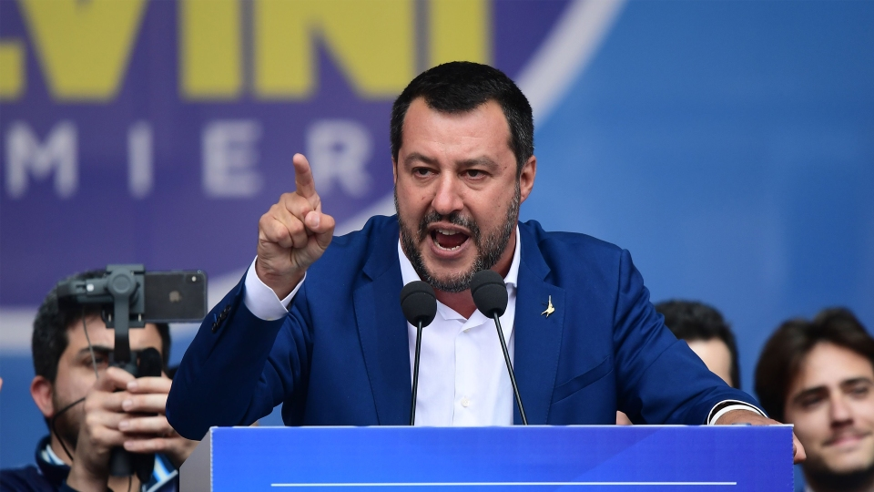 Italian Deputy Prime Minister Matteo Salvini delivers a speech during a rally of European nationalists ahead of European elections on May 18 in Milan.
