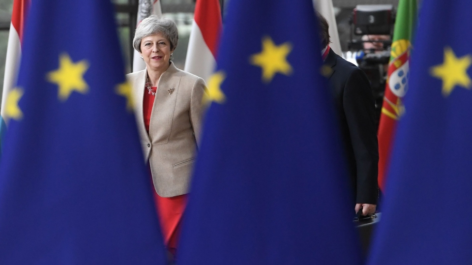 Britain's Prime Minister Theresa May arrives for a European Union (EU) summit at EU Headquarters in Brussels on May 28, 2019.