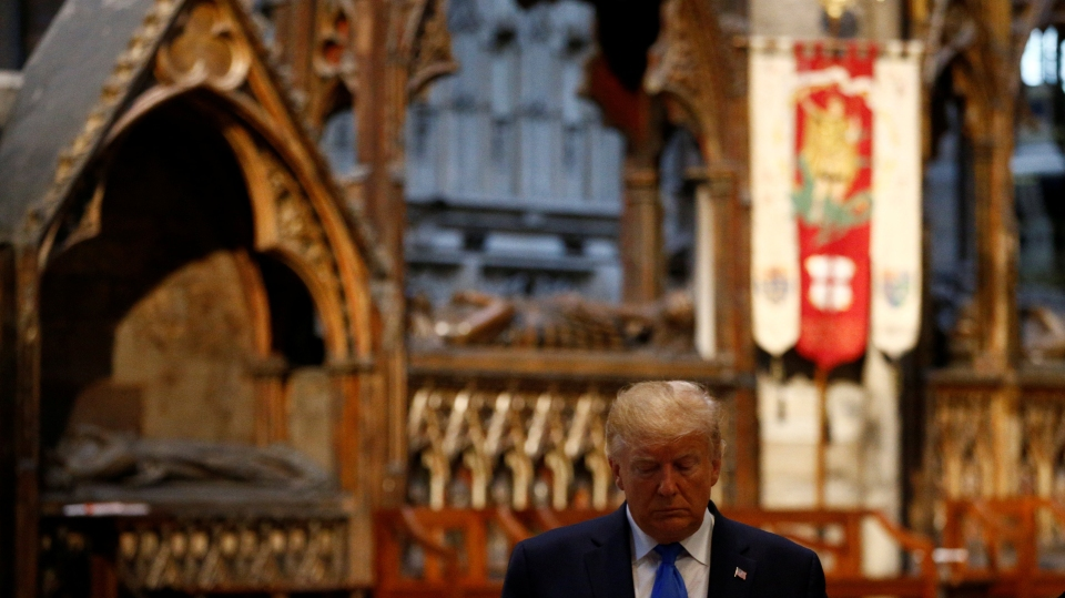 U.S. President Donald Trump during a tour of Westminster Abbey on June 3, 2019 in London, England.