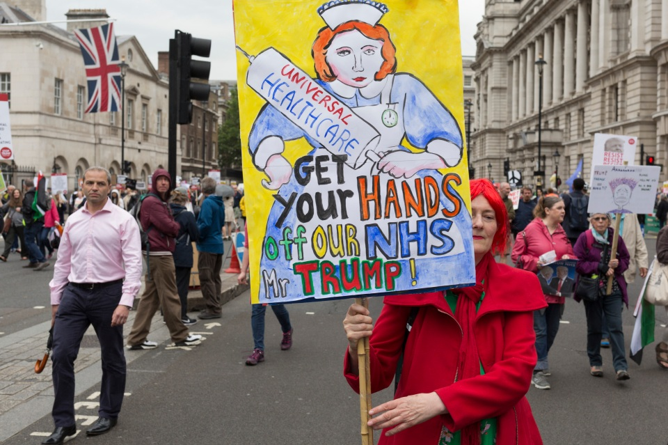 On US President Donald Trump's second day of a controversial three-day state visit to the UK, protesters voice their opposition to the 45th American President, (Photo by Richard Baker / In Pictures via Getty Images)