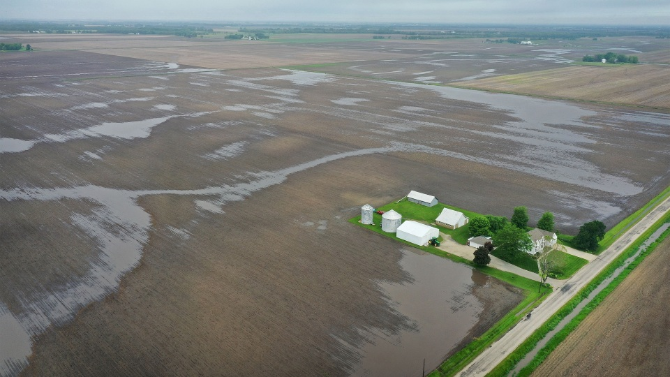 Water pools in rain-soaked farm fields on May 29 near Gardner, Illinois.