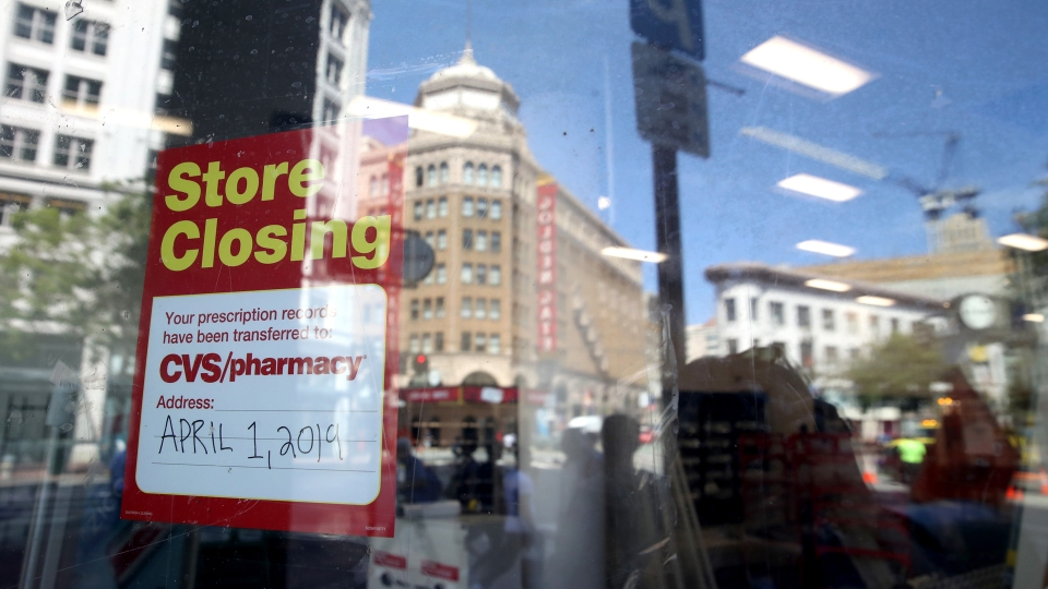 A sign is posted on the window of a closed CVS store on June 10, 2019 in San Francisco, California.
