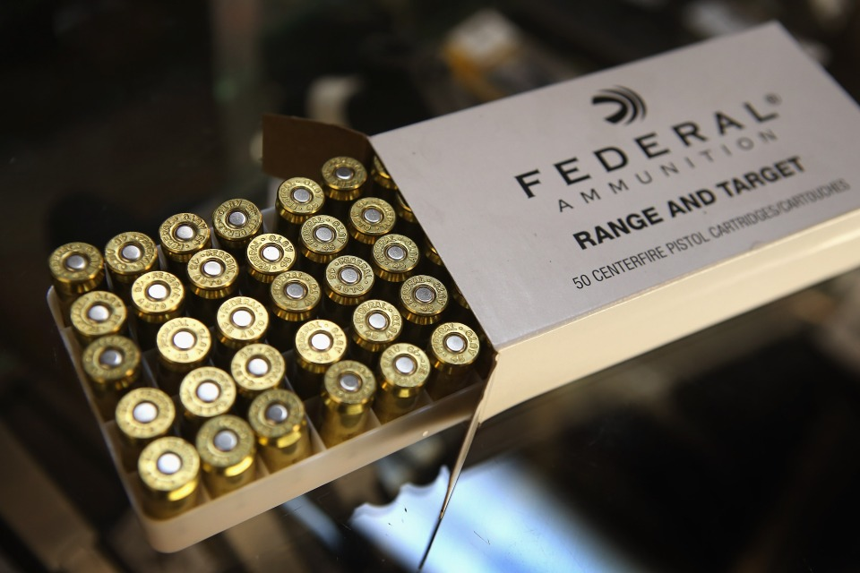 A box of .45-caliber ammunition. Buyers in California will be subject to extra checks on ammunition.