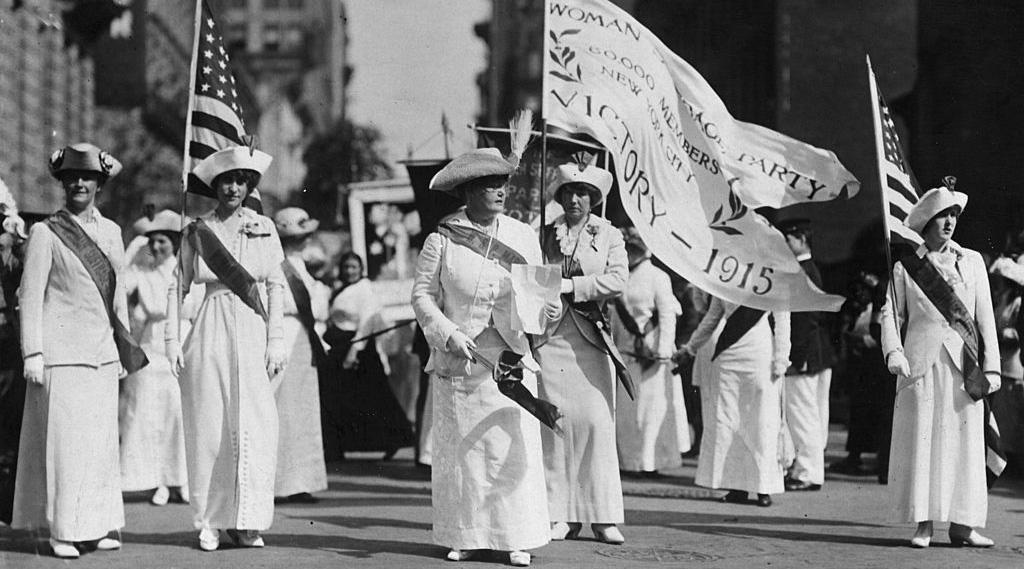 Real Photo POSTCARD SUFFRAGETTE Women PARADE Circa 1915